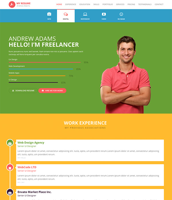 7 creative resume ideas to stand out online cloverdesain one page resume template theme yelopaper Choice Image