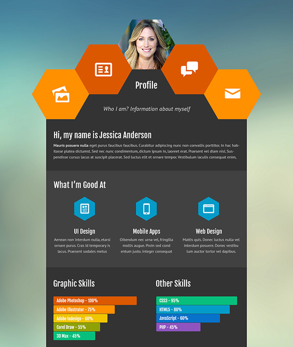 Resume Website Template ukiecard personal vcard resume html template Cellcv Personal Portfolio Resume Site