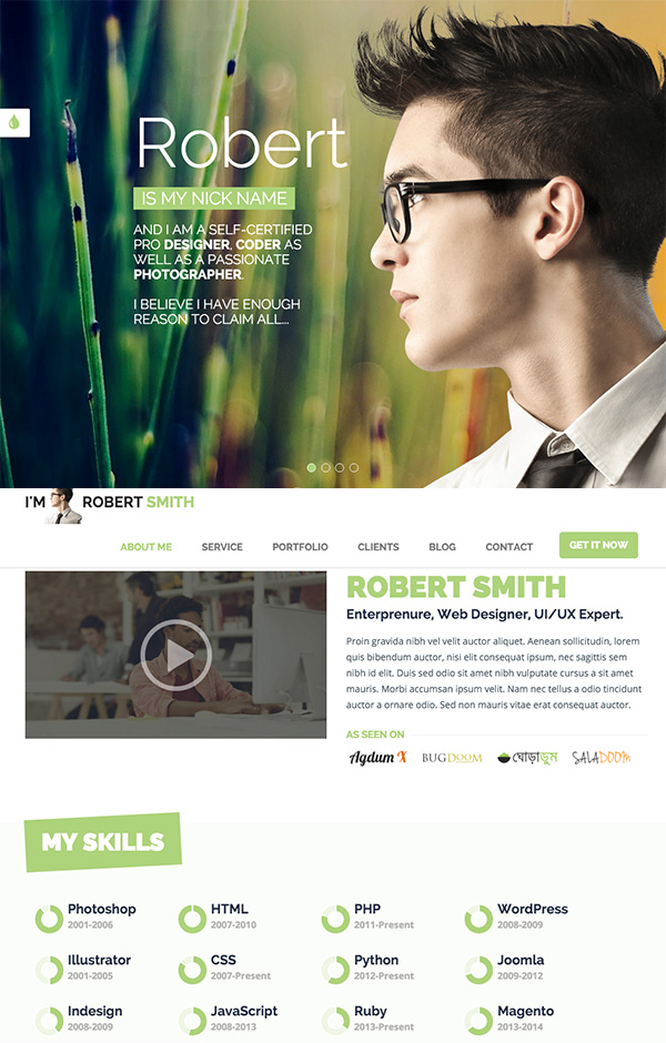 Resume Website Template free bootstrap resumecv template for developers default colour Responsive Html5 Resume Template