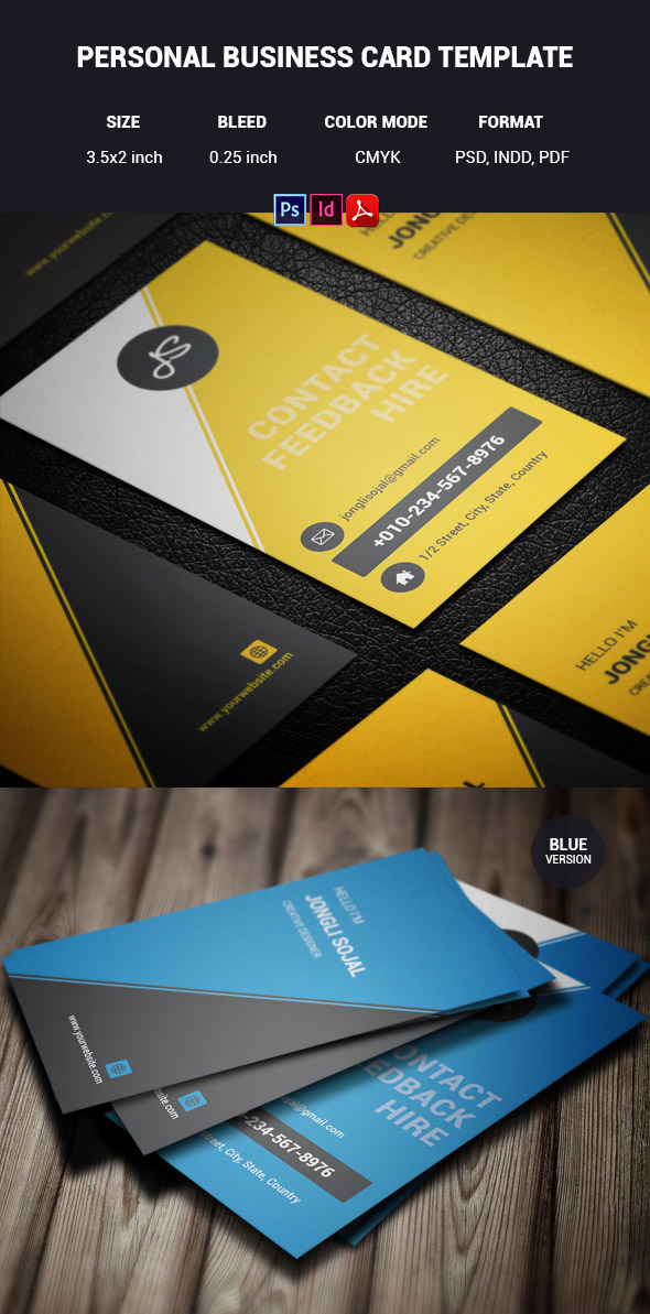 Premium Business Card Templates In Photoshop Illustrator - Personal business cards template