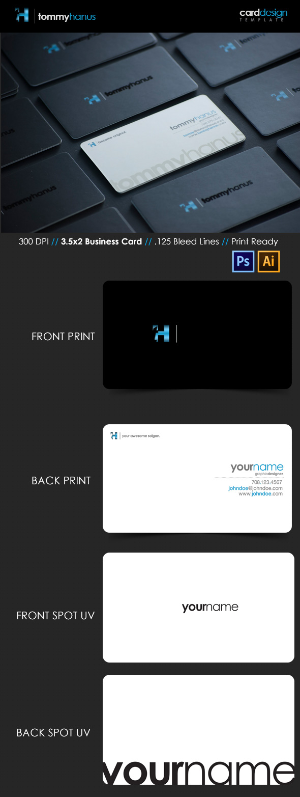 Premium Business Card Templates In Photoshop Illustrator - Front and back business card template
