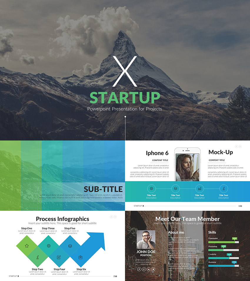 startup x pitch deck ppt template 2016