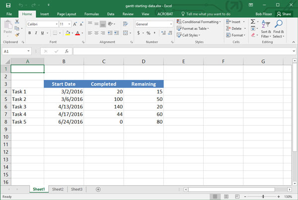 how to make a gantt chart in excel 2013