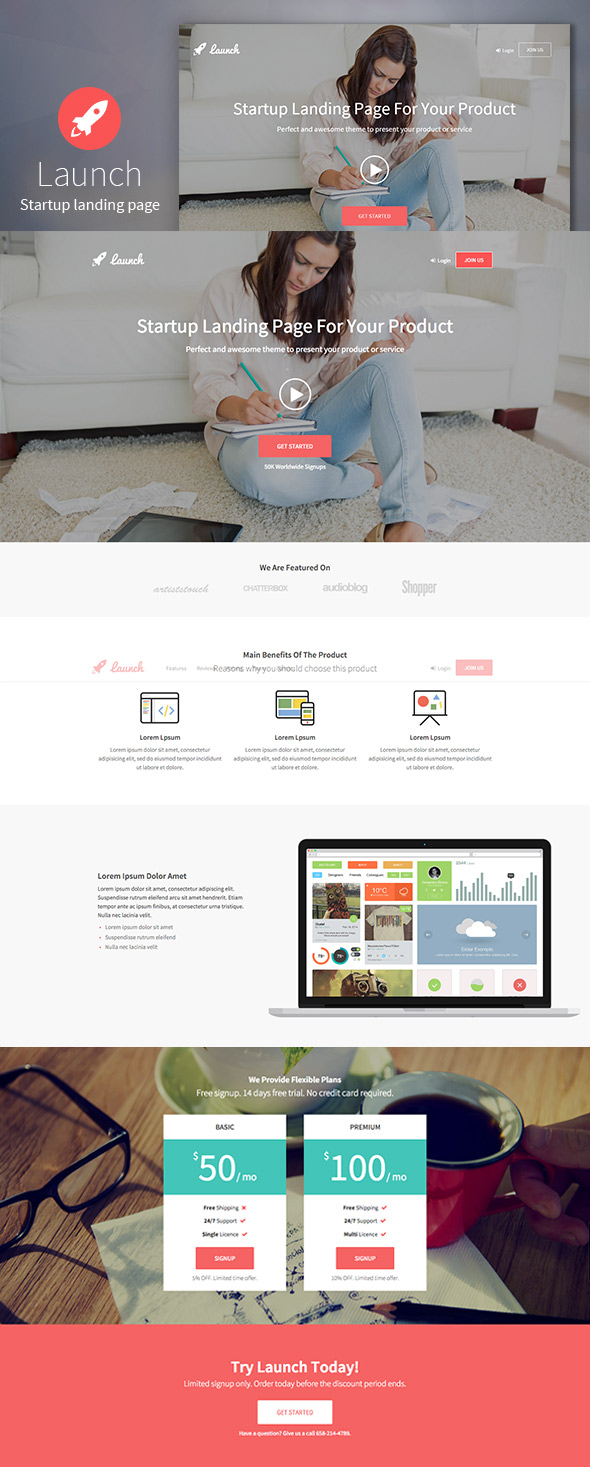 Launch Bootstrap Landing Page Template