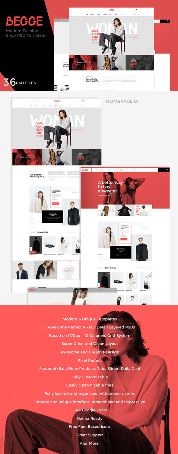 Begge eCommerce PSD Template Files
