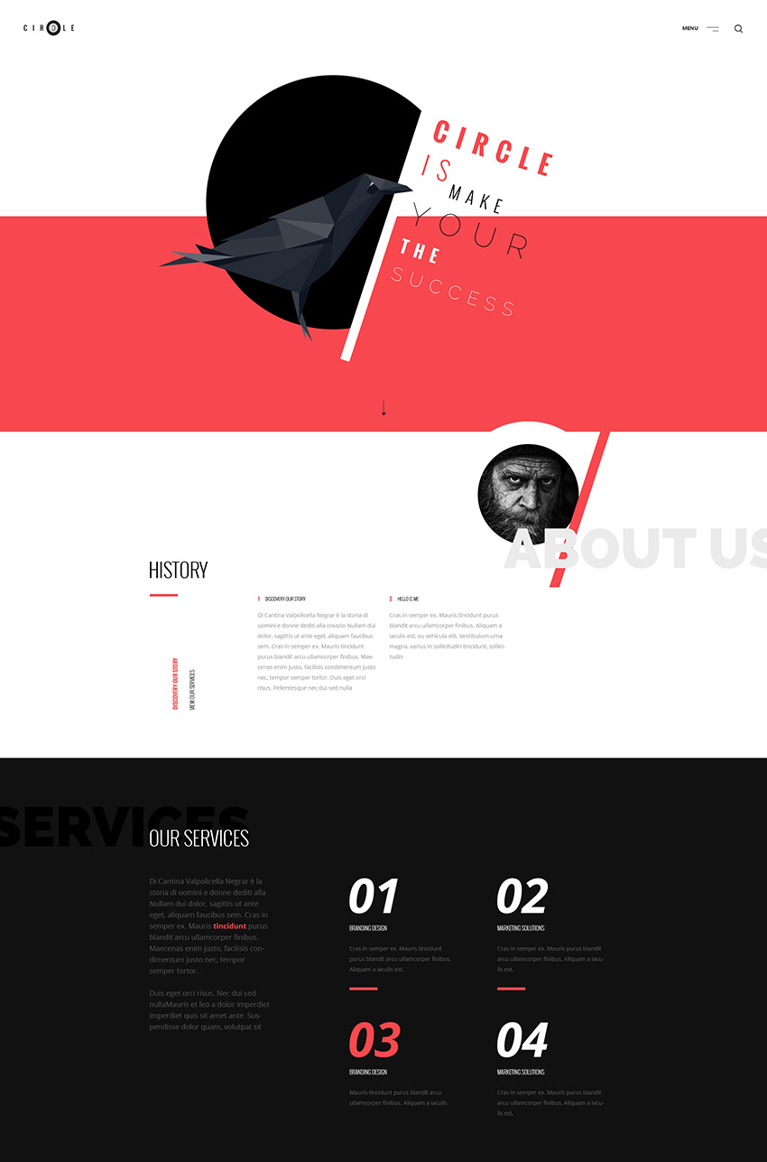 Circle Unique Photoshop PSD Website Template