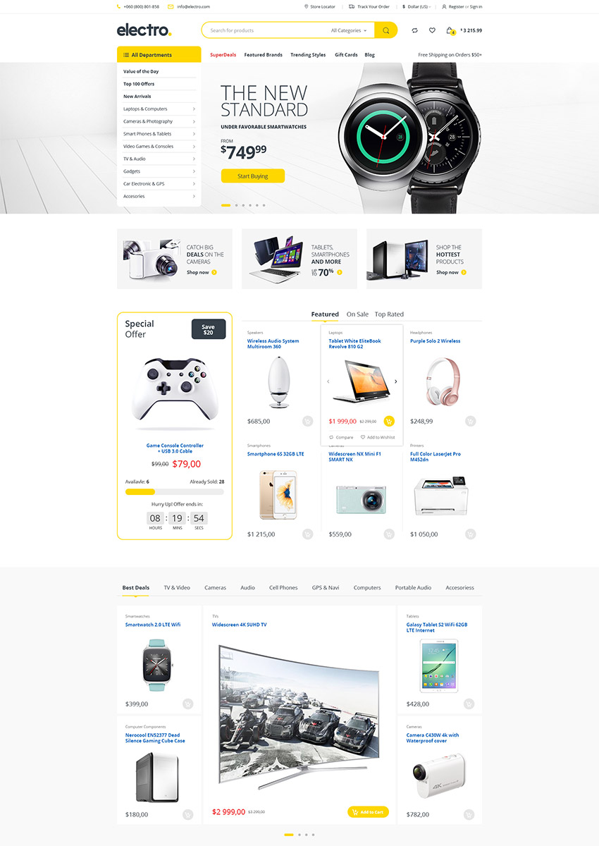 Electro Electronics eCommerce PSD Template