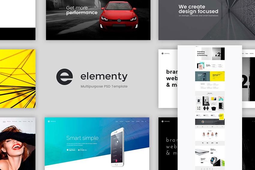 Elementy Multipurpose PSD Website Template