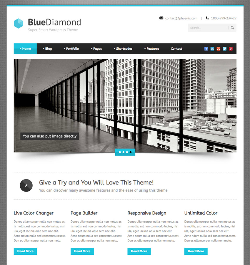 Blue Diamond Smart Corporate WordPress Theme for Business