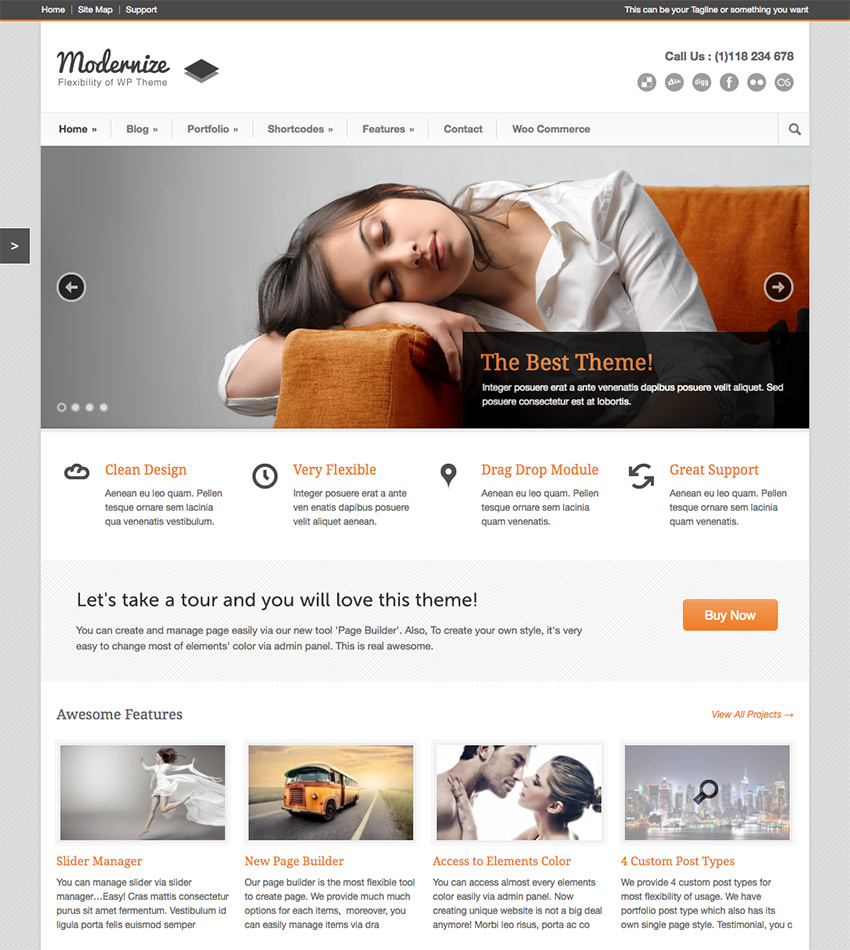 Modernize Modern WordPress Business Corporate Theme