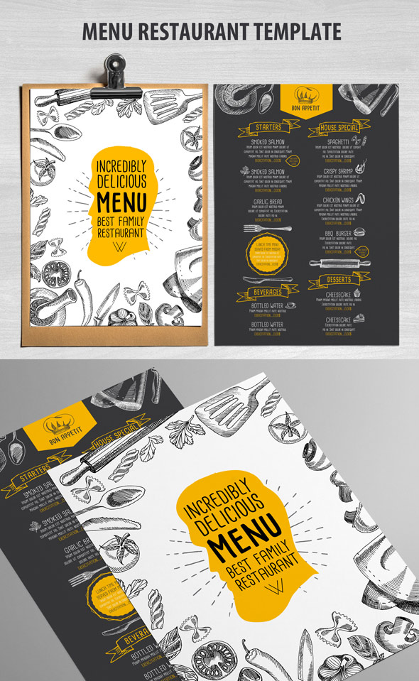 Super 27 Restaurant Menu Templates With Creative Designs HJ88