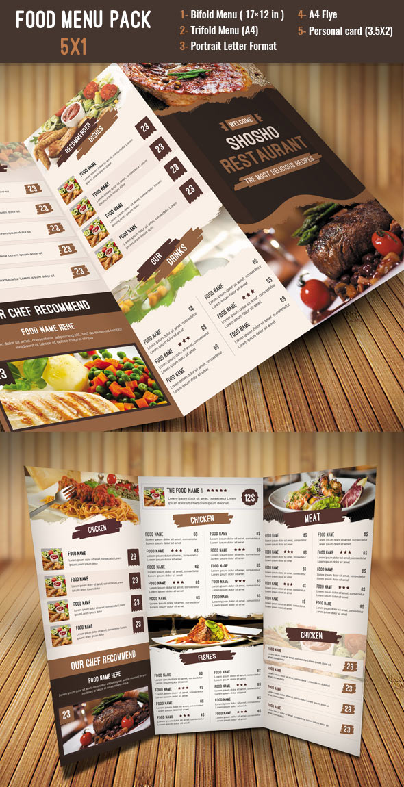 Turbo 27 Restaurant Menu Templates With Creative Designs DW16