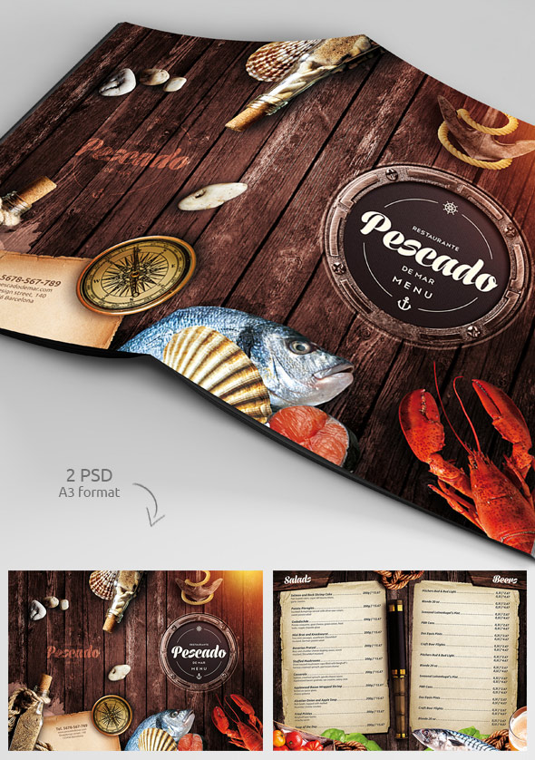 Restaurant Menu Templates With Creative Designs - Folded menu template