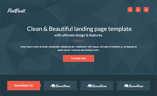 Flat Vault Landing page template