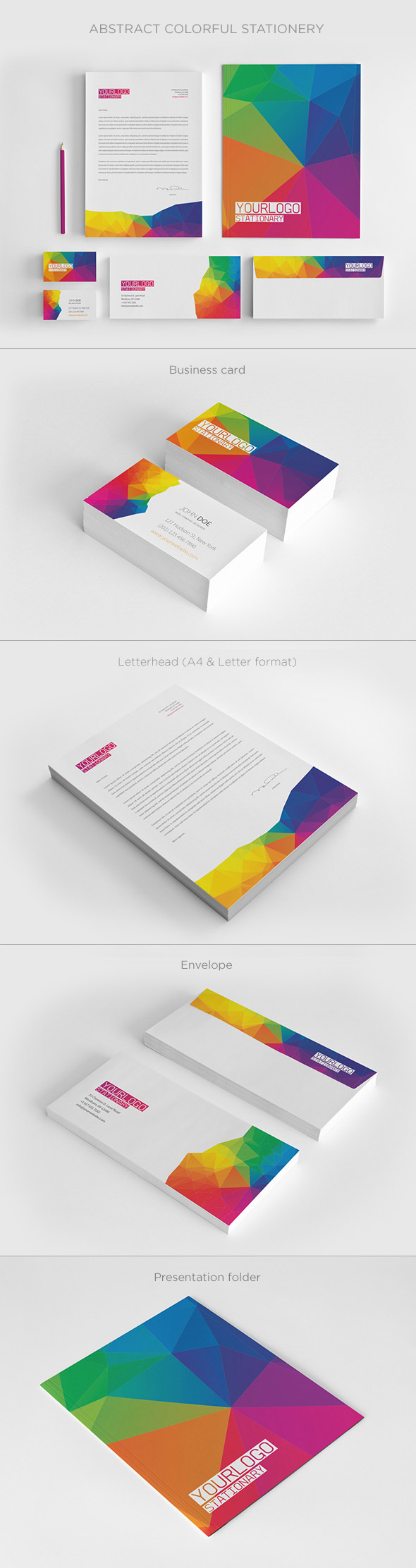 Abstract Colorful Stationery Design Set
