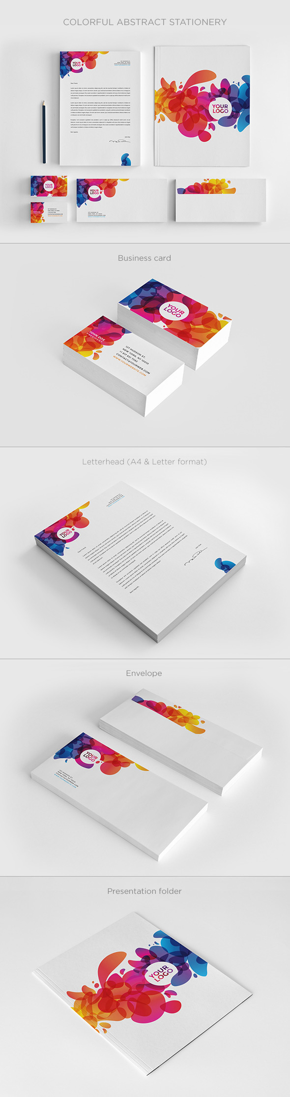 15 corporate brand identity packageswith creative designs colorful abstract stationery template set wajeb Choice Image