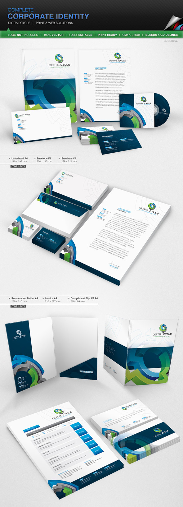 15 corporate brand identity packages—with creative designs, Presentation templates
