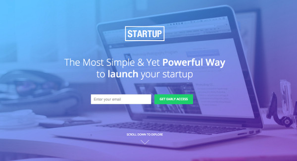 Landing page template for startups