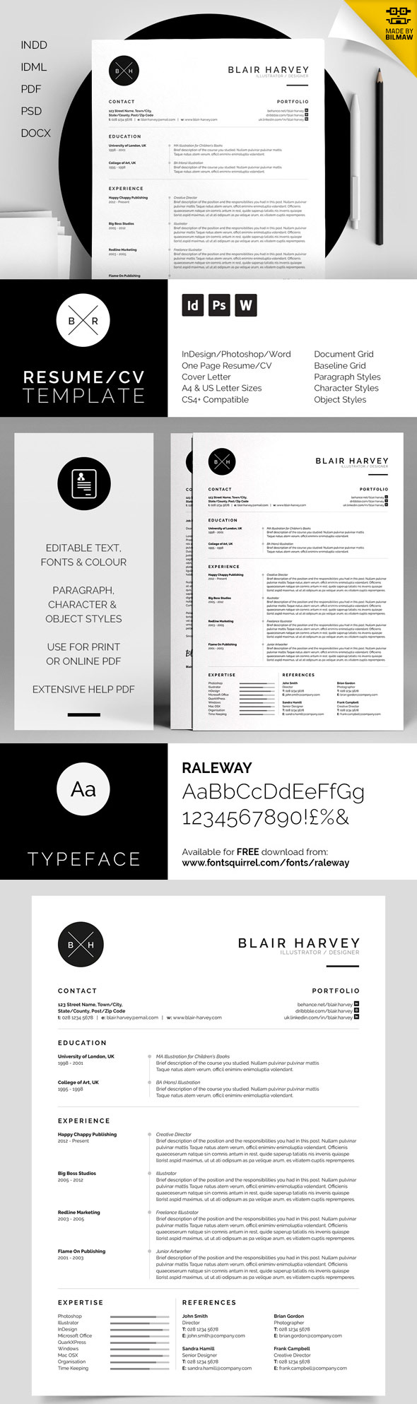 Blair - Branded Minimal Resume Template Set