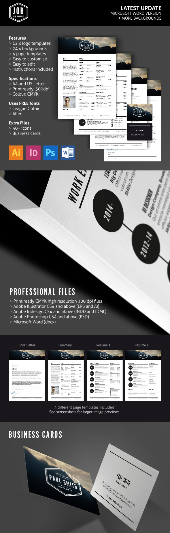 Job Resume Template Set With Logos  Business Cards