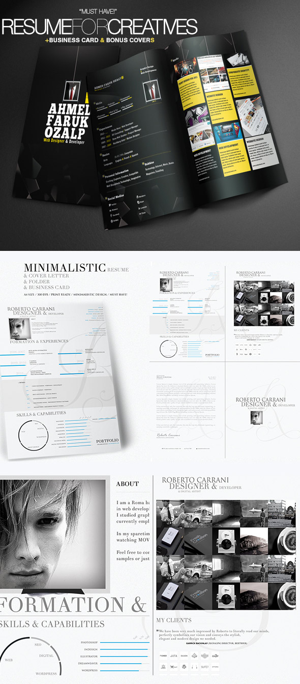 Creative Resume Templates 2 In 1  Attractive Resume Templates