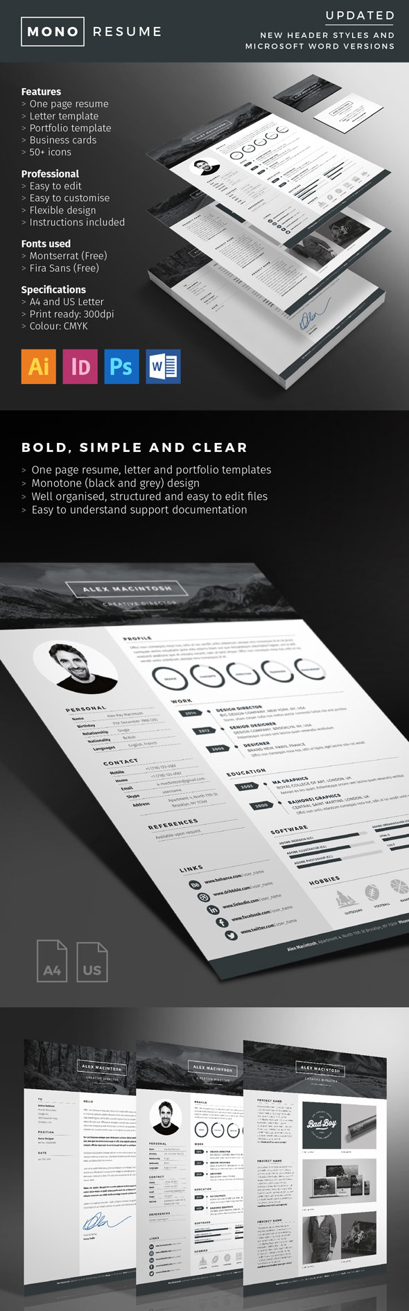 Mono Resume With Minimal Design