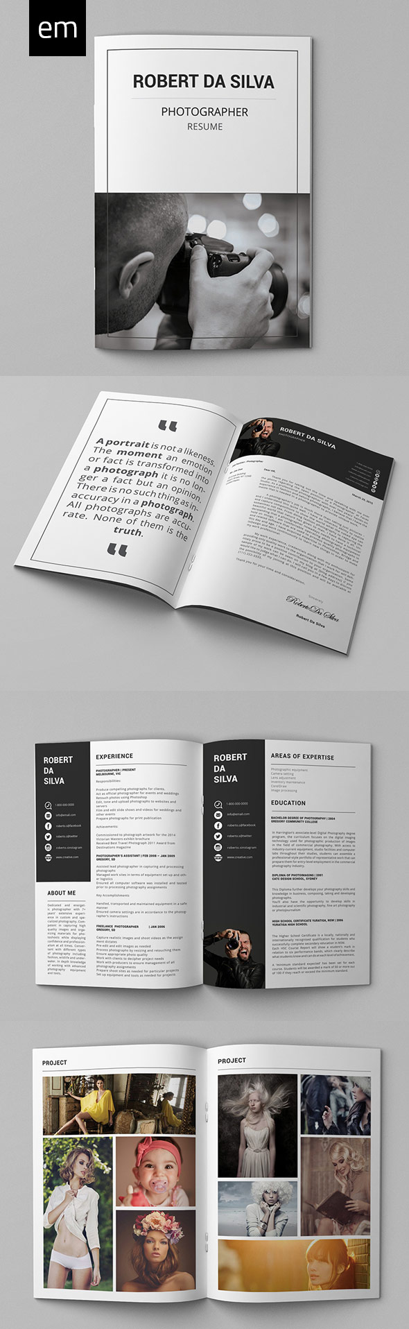 25 creative resume templates to land a new job in style photography resume portfolio pack