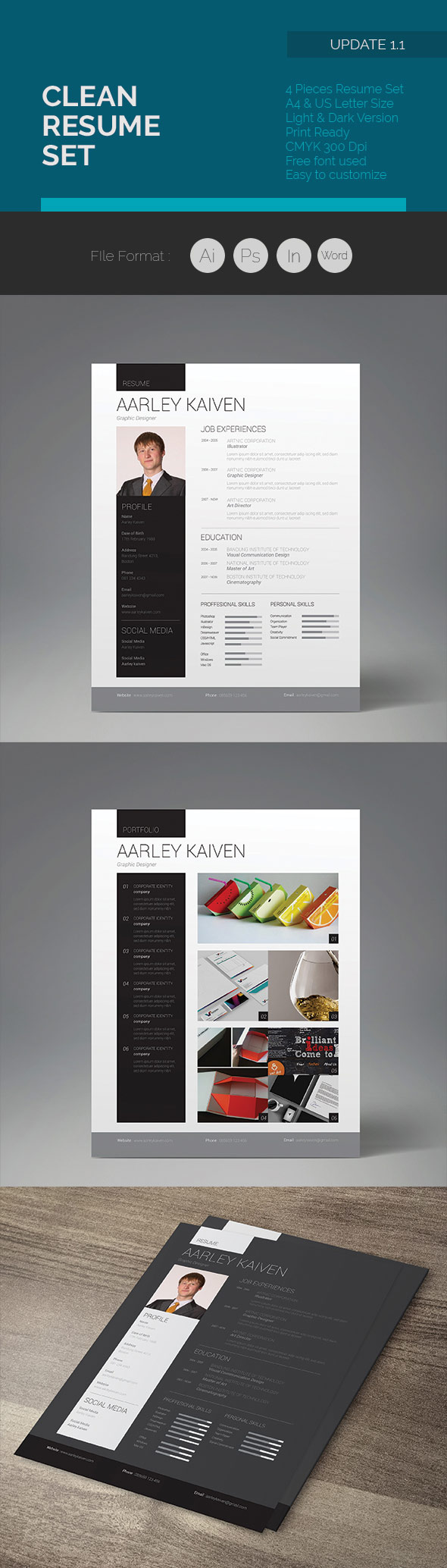 pro design clean resume set - Creative Resume Design Templates