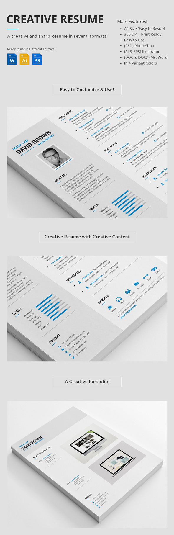 Professional Creative Resume Set  Attractive Resume Templates