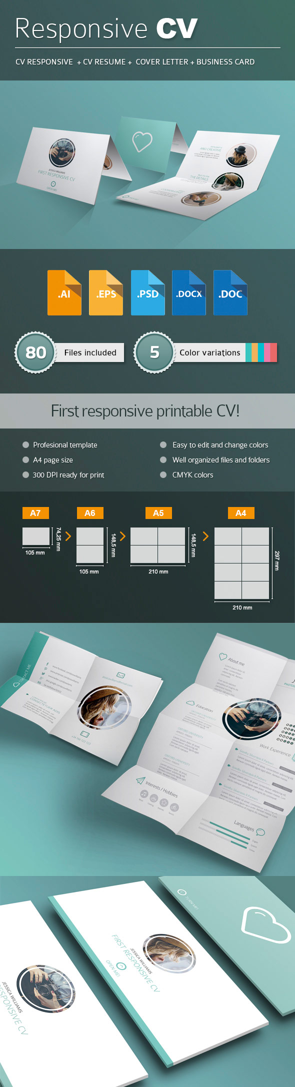 Responsive Printable Resume CV Pack