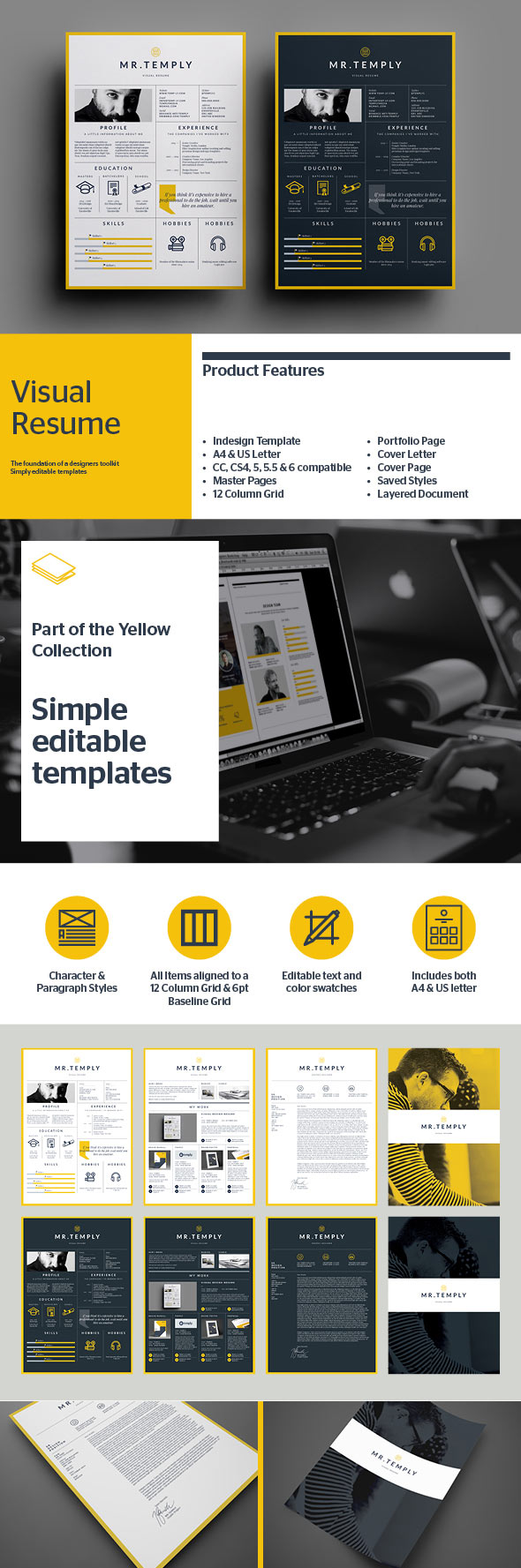 25 creative resume templates to land a new job in style visual creative resume template yelopaper Images