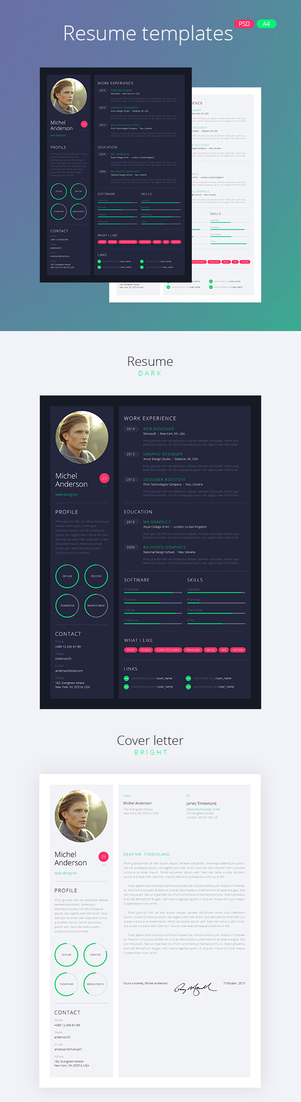 Web Design Style Resume CV Pack  Free Creative Resume Templates