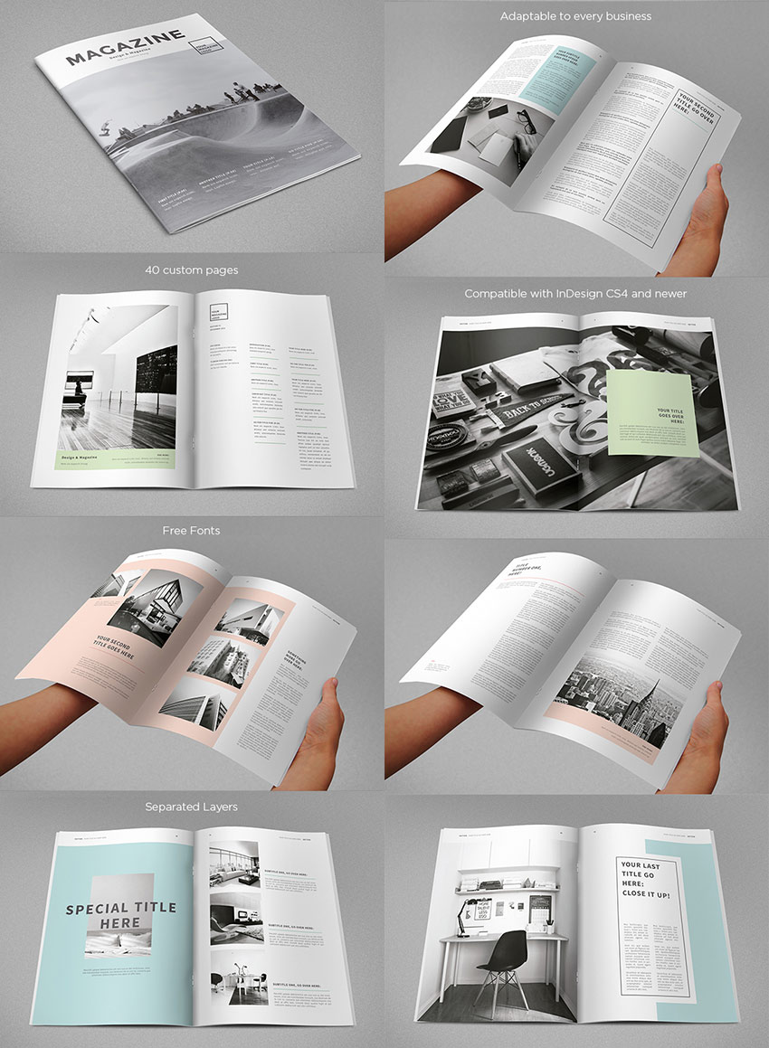 20 magazine templates with creative print layout designs, Powerpoint templates
