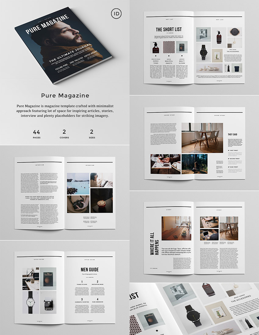 20 magazine templates with creative print layout designs for Indesign interior