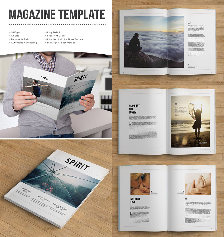 20 magazine templates with creative print layout designs. Black Bedroom Furniture Sets. Home Design Ideas