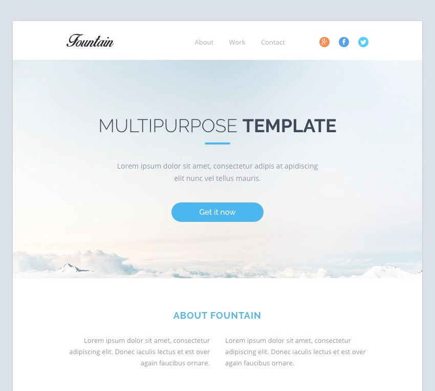 Fountain - Modern Email Template  Online Editor