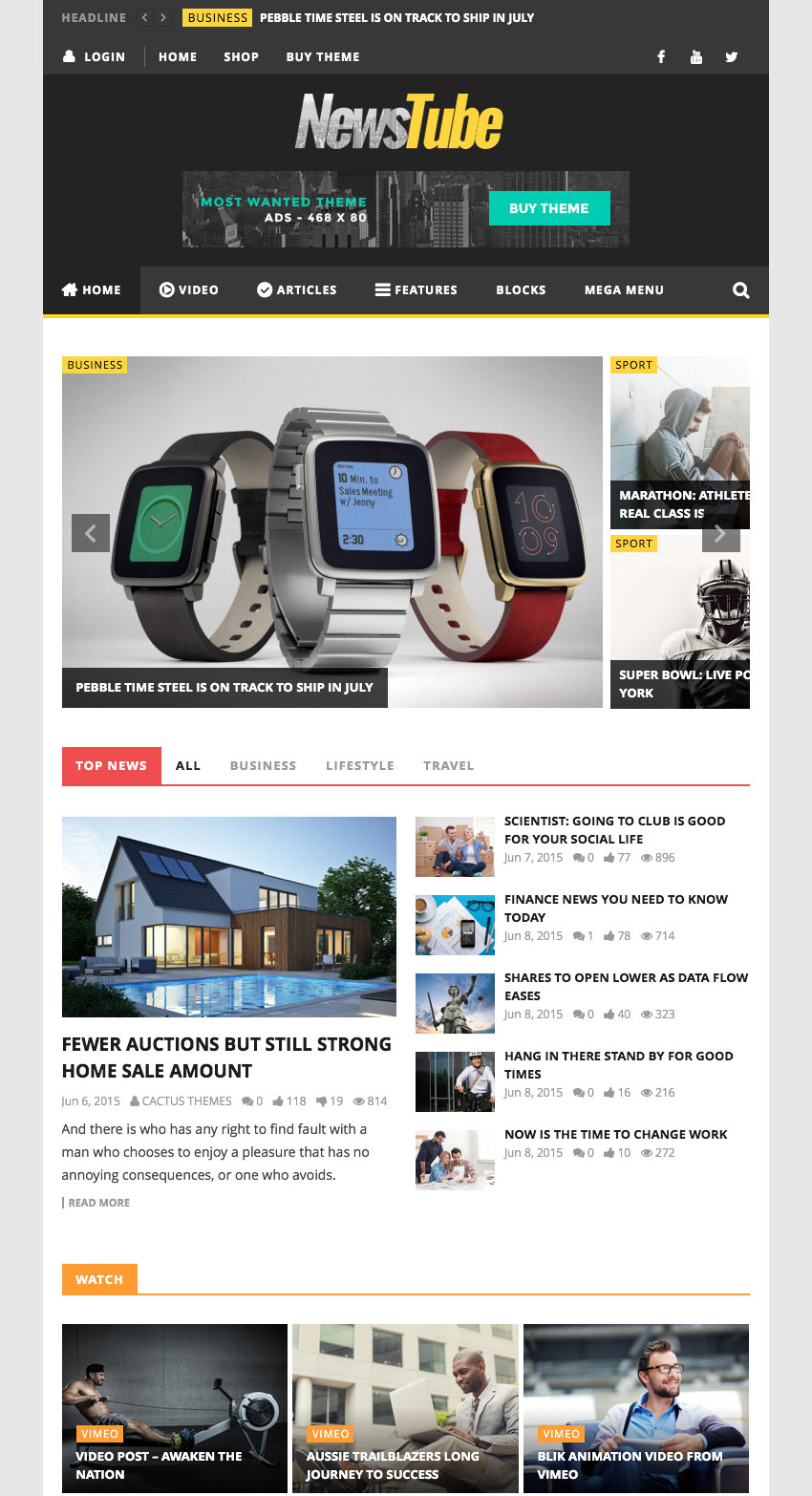 Newstube - Magazine Blog  Video Theme
