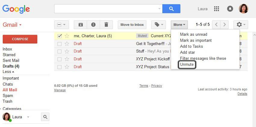 Unmute email threads