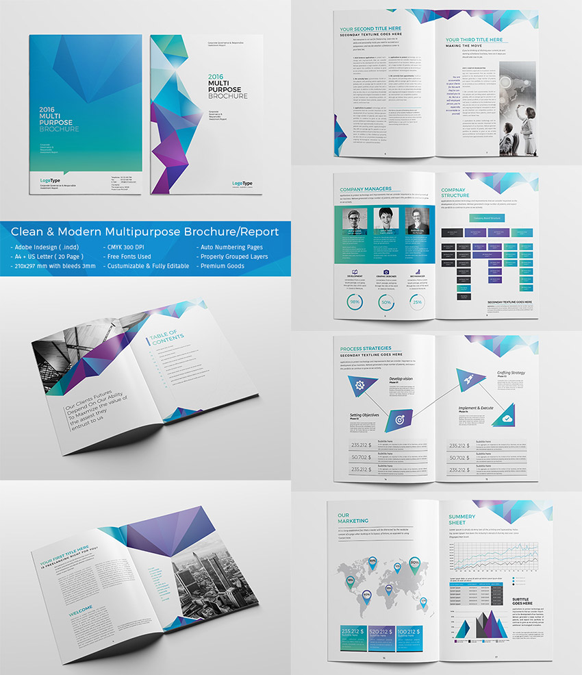 20 best indesign brochure templates for creative for Marketing brochure templates free