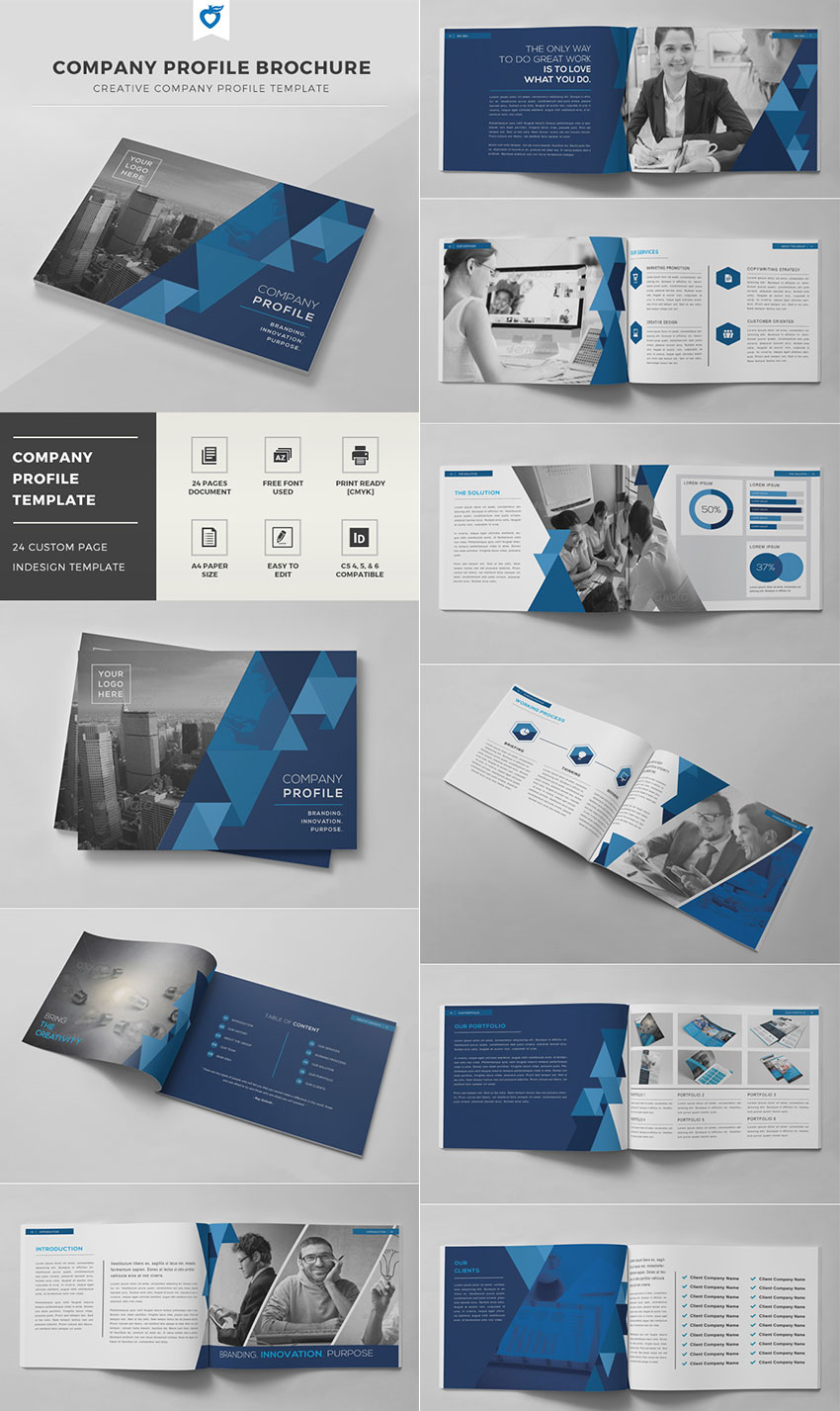 best indesign brochure templates for creative business marketing company profile brochure indd template