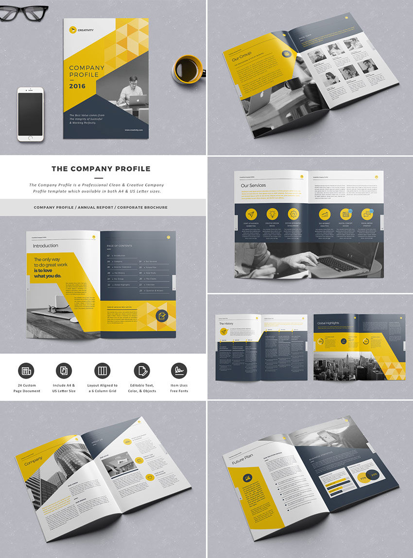 20 best indesign brochure templates for creative business marketing the company profile indesign template flashek Image collections
