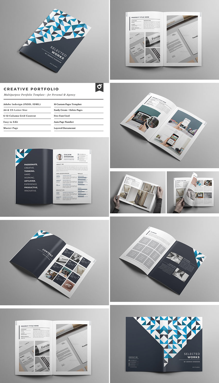 20 best indesign brochure templates for creative for Graphic designer portfolio template free download