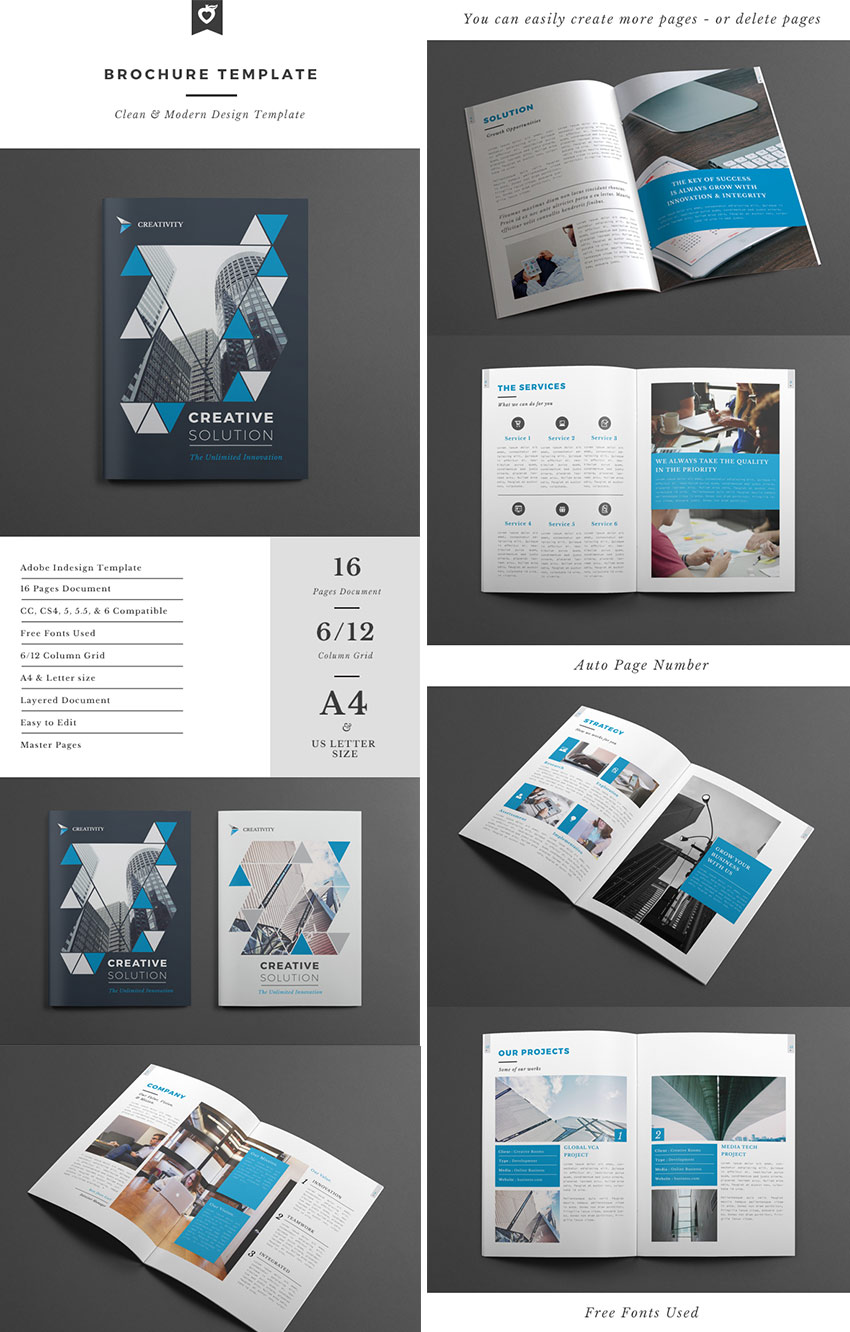 20 best indesign brochure templates for creative for Creative brochure templates free