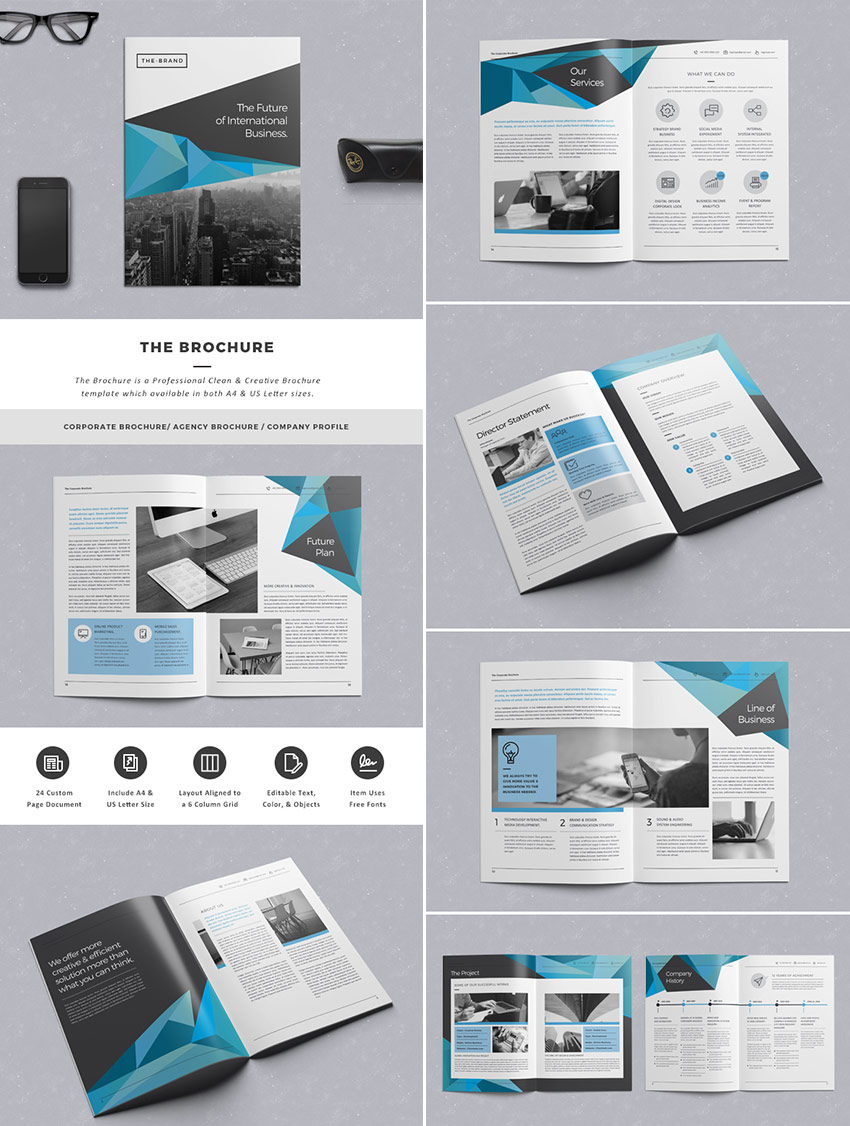 20 best indesign brochure templates for creative for Information technology company profile template