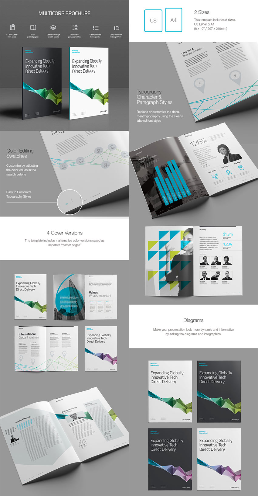 20 best indesign brochure templates for creative for Typography brochure design