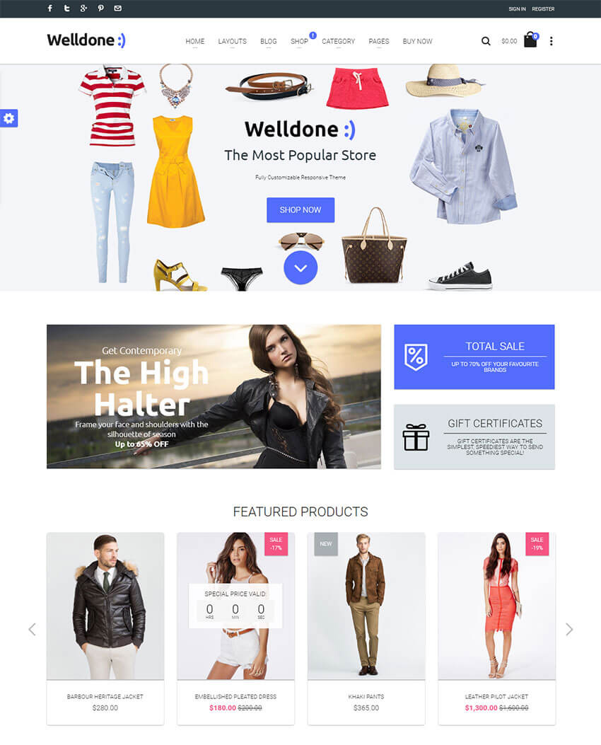 Welldone Material Responsive Shopify Theme