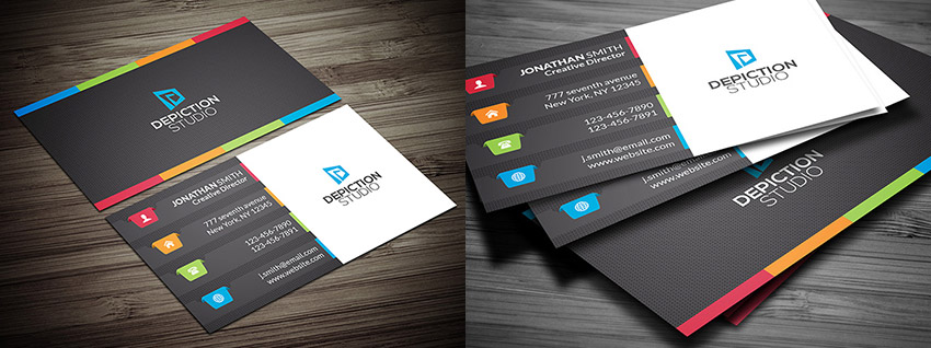 creative psd multiple color business card