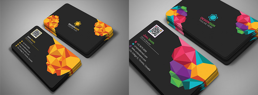 15 creative business card templateswith unique designs poly shape business card template creative design reheart Gallery
