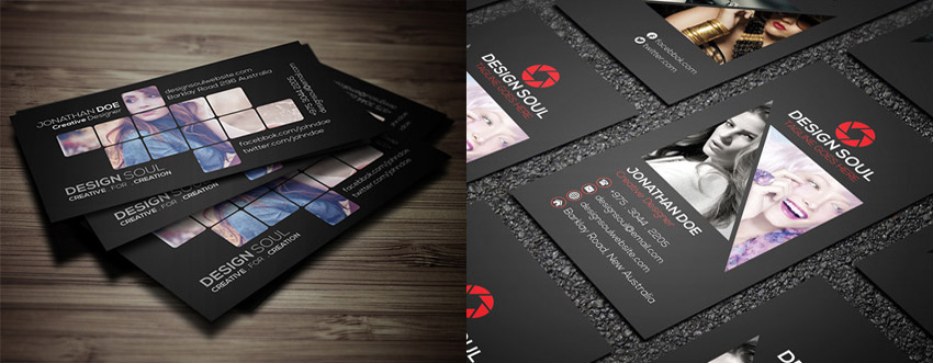 15 creative business card templateswith unique designs unique photography business card bundle psd reheart Gallery