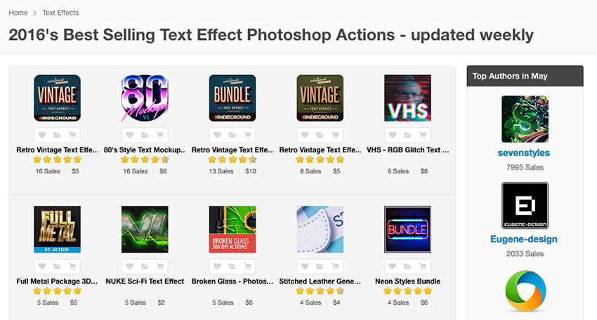 Photoshop Text Effect Actions on Envato Market